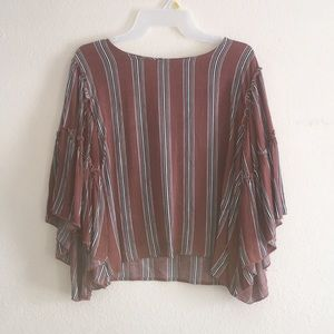 Women's Striped Blouse-Bell Sleeves
